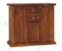 Credenza, stile classico, in legno massello e mdf con rifinitura in noce lucido - Mis.100x40x88h