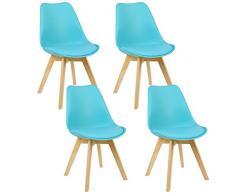 WOLTU BH29bl-4 Sedie da Pranzo Sgabello con Schienale Plastica Ecopelle Legno di Faggio Sedia per Cucina Ristorante Blu 4 Pezzi