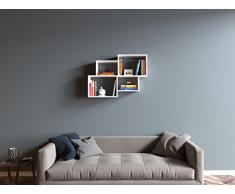 HOMIDEA Bend Mensola da Muro - Mensola Parete - Mensola Libreria - Scaffale pensile per Studio/Soggiorno in Design Moderno (Bianco)