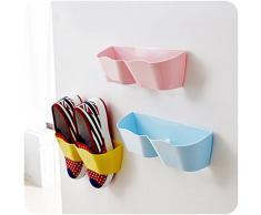 Yosoo 4stk Creativo mobili Decorazione plastica scarpiera per la Porta da Appendere appendibile per Porta Scarpe mensola festkleben Design della Porta scaffale per Scarpe
