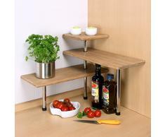 Scaffale angolare in bambù bremermann®, scaffale da cucina, materiale in legno dibambù e acciaio inox
