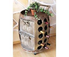 Scaffale vino per 30 bottiglie Porta-vivande 1499 Botte vino in legno 72cm Supporto bottiglie Bar