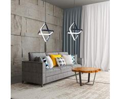 AUA Lampada a Sospensione LED, Lampadario a LED Moderno Piazza 20W Dimmerabile, per Camera da Letto e Soggiorno