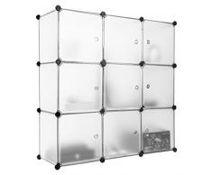 Finether - Armadio Armadietto Guardaroba Scaffale Scarpiera a cubo, Bianco (9 Cubi)