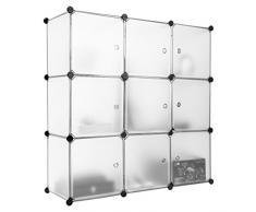 Finether - Armadio Armadietto Guardaroba Scaffale Scarpiera a cubo, Bianco (9 Cubi)