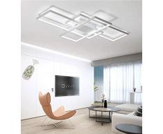 Plafoniera a LED Soggiorno Dimmerabile Soffitto Lamp Moderno Rettangolo Quadrato Designer Lampada a Sospensione con telecomando Cucina acrilica Sala da pranzo Camera da Letto Lampadari