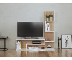 MIMOSA Set Soggiorno - Parete Attrezzata- Mobile TV Porta con mensola in moderno design (Bianco - Sonoma)