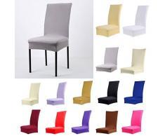 YEAH67886 Fashion sgabello della sedia da pranzo colore solido poliestere spandex Slipcover (champagne)