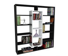 Alphamoebel - Parete attrezzata soggiorno Libreria Ample, colore:Nero/ Bianco