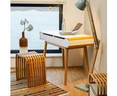 Relaxdays Scrivania con Cassetti, Tavolino Design Nordico, Scrittoio, Tavolo per Studio & Cameretta, 73 X 100 X 45 Cm,Bianco, 73x100x45 cm, Pannelli MDF, bambù, 73.5 X 100 X 45 Cm