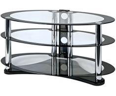 Mobile porta TV in vetro ovale contemporaneo nero per TV 26-50'' Centurion GT8