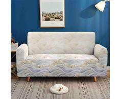 Morbuy Copridivano Fodera Copridivani di Paesaggio Stampa, Elasticizzato Sofa Protettore Copertura per 1/2/3/4 posti Divano Poltrone + Rullo Appiccicoso Regalo (Onde Beige,4 posti)