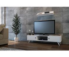 ASPEN Set Soggiorno - Bianco - Parete Attrezzata - Mobile TV Porta con mensola da muro un design moderno