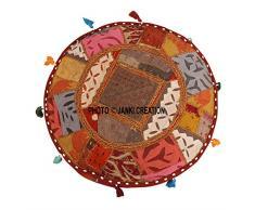 Janki Creation Home decorativo ottomano a mano, indiano comodo cuscino da terra in cotone ottomano impreziosito con ricamo e patchwork, indiano vintage pouf ottomano, (18 x 18 x 13) Piano cuscino