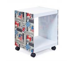 Esidra Lubbock Tavolino/Comodino con Ruote, Legno, Bianco, 38 x 33.5 x 46 cm
