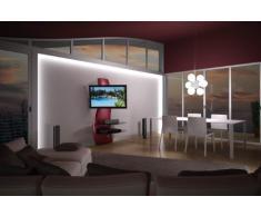 Meliconi GHOST DESIGN 2000 ROTATION ROSSO Parete Attrezzata con Supporto TV, Doppio Braccio Orientabile, Mensole in Vetro Temperato, per TV da 32 a 63, Rosso