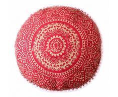 Iindian Red ombre mandala poggiapiedi rotondo pouf ottomano pouf decorativo pouf ottomano, pavimento indiano comodo cuscino in cotone cuscino ,14 x 24 '(multi) comodo cuscino di cotone cuscino da pavimento pouf ,14 x 24' (multi)