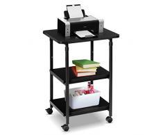 Goplus Tavolino Supporto Multifunzione Porta Stampante Regolabile in Altezza Mobiletto Carrello con 3 Ripiani in Legno