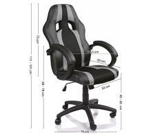 TRESKO® Poltrona Sedia direzionale da ufficio Racer classe di lusso - disponibile in diversi colori (nero/argento)
