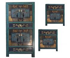 opium outlet Combinazione di Armadio Cinese e 2 comodini Comodino Armadio Matrimonio credenza credenza Stile coloniale Shabby Chic Motivi Colorati (Blu)