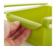 WJkuku, contenitore salvaspazio multifunzione in plastica per cucina, frigorifero, freezer, da applicare al ripiano del frigo come fosse un cassettino Green