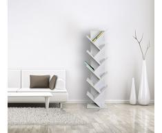 Rebecca srl Scaffale Libreria 10 Mensole Legno Bianco Design Urban Living Corridoio (Cod. RE4584)