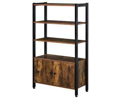 homcom Libreria Moderna Stile Industriale con 3 Mensole e Armadietto a 2 Ante Casa e Ufficio, Legno e Metallo, Marrone Rustico, 70x30x120cm