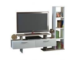 MINEL Set Soggiorno - Bianco & Avola - Mobile TV Porta con mensola in un design moderno