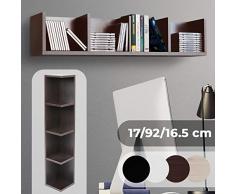 Scaffale Porta CD DVD - Archivazione 80 CD, 4 Ripiani, 17x92x16,5 cm, in Legno, Colore Mocca - Libreria, Mensola CD da Parete, Mobile DVD