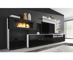Home Innovation- Mobile Soggiorno- Parete da Soggiorno con biocamino a bioetanolo, finiture bianco mate e nero laccato, dimensioni: 290 x 170 x 45 cm di profondità.