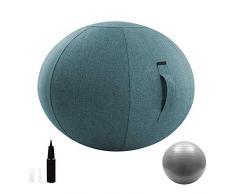 Ball Chair seduta con coperchio e pompa, ergonomico Esercizio Yoga Ball per ufficio e casa Muscle Training Fitness, Parto in gravidanza Palla allenamento,55cm-Blue