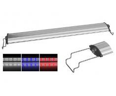 Sun Sun Led Aquarium Lamp SL - Plafoniera a lampade LED ultra slim, in varie misure e colori, con supporti scorrevoli regolabili per il fissaggio a bordo vasca (Bianca/Blu, SL-600)