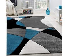 Paco Home Tappeto di Design Moderno Motivo Geometrico Taglio Sagomato Turchese Grigio Nero, Dimensione:80x150 cm