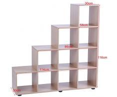 Zerone mensola, DIY libreria mensola 10 griglie di legno cubo scaffale a scala scaffale da appoggio scaffalatura per soggiorno o ufficio 114 x 30 x 116 cm