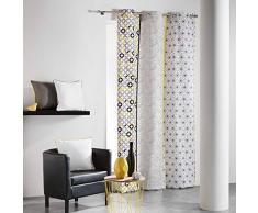 Cotone da interno, Remix, tenda a occhielli, Cotone, grigio/giallo, 140 x 240 cm