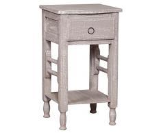 Tavolino comodino Shabby in legno massello finitura grigio anticato L31xPR28xH55 cm