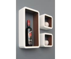 ts-ideen Set di 3 Cubo Design Lounge scaffale libreria retrò CD DVD Mensola Bianco Marrone