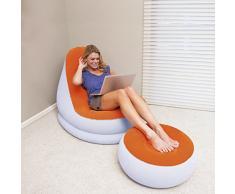 MovilCom® - Poltrona con Pouf Poggiapiedi Gonfiabile Floccato   Multiuso Relax Riposo
