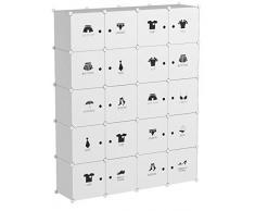 LANGRIA DIY Armadio Armadietto Guardaroba Scaffale Cubi Mobiletto Modulare con Carini Motivi da Bianco ( 20 Cubo)