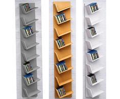 Befied Scaffale Scala Scaltta Multiusi Libreria divisorio CD 8 Ripiani in legno da Parete Angolare Mensola salotto Ufficio Studio Bianco Griggio Carico Massimo 33 x 180cm Griggio