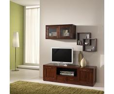 Mobile porta Tv serie Compact stile etnico coloniale moderno realizzato artigianalmente in legno massello di Teak - SCONTO ONLINE