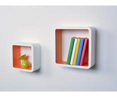 Dura Line scaffale cubo decorativo scaffale Double Cube | 26 cm, 20 cm x 10 cm | Bianco-arancione
