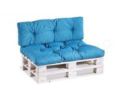 Cuscino per bancale, Cuscini per Pallet Divani, Seduta, Schienale,Trapuntato PP (Seduta 120x60, Azzurro)