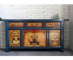 OPIUM OUTLET Grande Credenza Cassettiera Comò Cinese. Mobile Asiatico Vintage Shabby-Chic Orientale coloniale in Legno di Pino