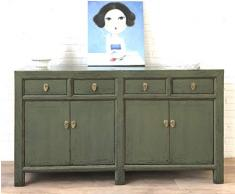 OPIUM OUTLET - Comò cinese, credenza, stile coloniale vintage, blu shabby chic, colore: verde oliva