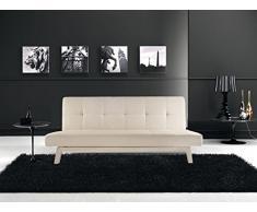 Divano letto sofa 180x80 bianco nero ecopelle reclinabile design moderno arredo kia