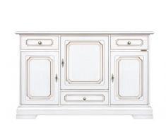 Credenza classica in legno per la zona giorno con 3 ante e 3 cassetti, credenza laccata ideale per ogni ambiente, robusta e di alta qualità made in Italy. Direttamente dal produttore.