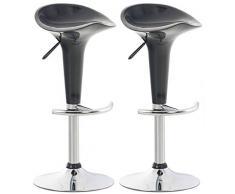 CLP Set 2 Sgabelli Design Saddle in Plastica I Coppia Sgabelli Cucina con Poggiapiedi I Sedie Regolabili Alt 60-81 CM, Colore:Grigio