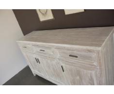 Mobile Buffet Stile Shabby 180cm 3ante 3cassetti, in Legno massello di Teak con Finitura in Colore Bianco DECAPATO - Collezione Natural Chic - Realizzazione Artigianale. Prezzo Outlet