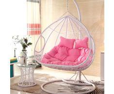 BLSTY Doppia Hanging Egg Chair Poltrona Pensile Cuscino De Sedile, Nessuna Sedia, Traspirante Amaca Cuscino Sedia per Gondola Cuscini Schiena Cuscino Lombare Senza Supporto-N-140x105cm(55x41pollice)